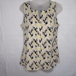 WHBM Yellow Black  Tan Geometric Sleeveless Blouse
